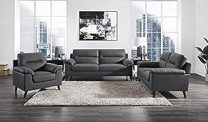 Lexicon Ellsinore Piece 3 Living Room Set, Gray