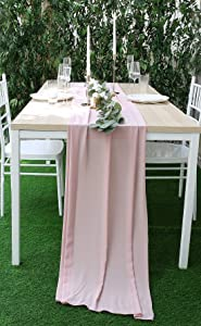 UNIQOOO 27.5 x 118 Inches Chiffon Table Runner | Dusty Rose | Silky Chic Sheer Tablecloth Table Decor | Great for Wedding Banquet Dinner Bridal Shower Party Table Decoration