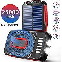 Wireless Power Bank Solar 25000 mAh Cargador Solar Con 3 Salidas (2 USB+Qi) Y 3 Entrada(Micro USB+Typ-C+Solar) 2 Alto Linternas (6W) 4 Modo Iluminación IP65 Batería Externa Para iPhone Android iPad