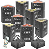 Chauvet DJ EZWedge Tri Battery Power Wireless LED Wash Lights (8 Pack) with 2 Carry Bags