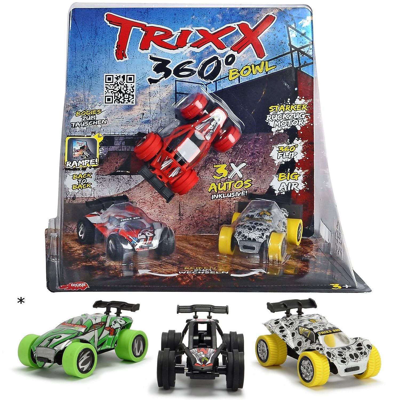 Unbekannt Trixx 360° Street inklusive 3 Auto Modelle TRXX005 und austauschbare Karosserien • 360 Straight Bowl Ramp Spielzeugauto Stunt Rampe Spielzeug Set