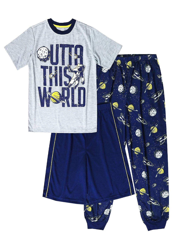 Wonder Nation Boys Outta This World 3 Piece Pajama Set Gray Small 6//7