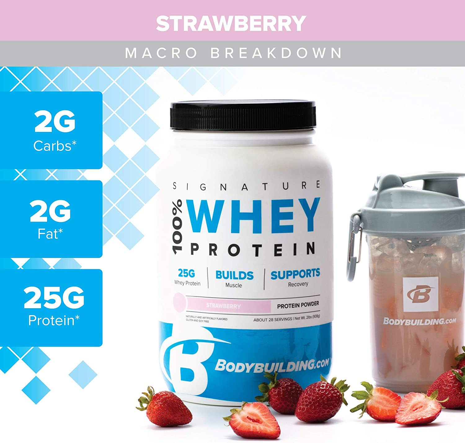 Bodybuilding Signature 100 Whey Protein Powder Strawberry 25g of Protein per Serving 5 lbs