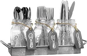 Home Essentials Set of 3 Mason Jar Flatware Caddies with Chalk Tags, Clear