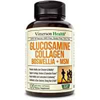 Glucosamine Sulfate Collagen Chondroitin Supplement with Boswellia, MSM, Bromelain...