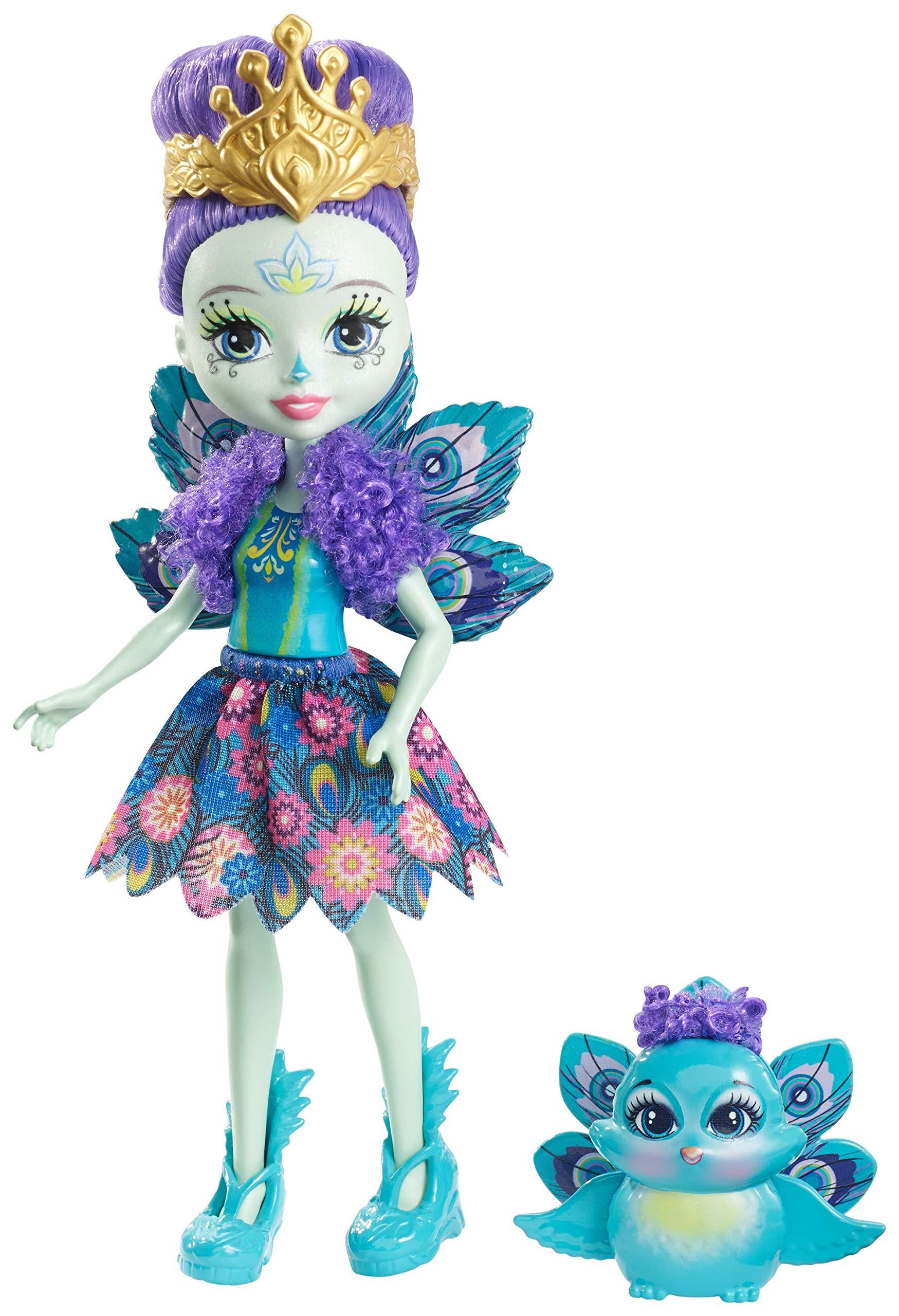 Enchantimals Mini-poupée Patter Paon et Figurine Animale Flap, aux cheveux violets avec jupe à motifs en tissu, jouet enfant, DYC76 product image