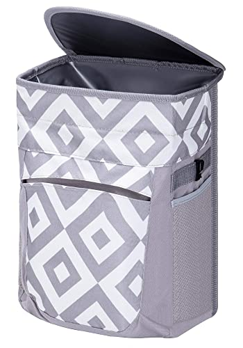 FORBY Collapsible Leak Proof Car Trash Can with Lid and 3 Storage Pockets
