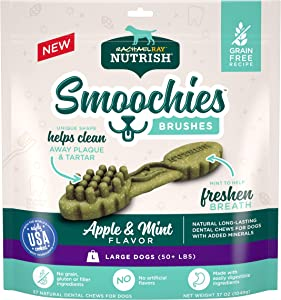 Rachael Ray Nutrish Smoochies Brushes Natural Long Lasting Dog Dental Chews, Apple & Mint, Large Size, 37 Treats, Grain Free