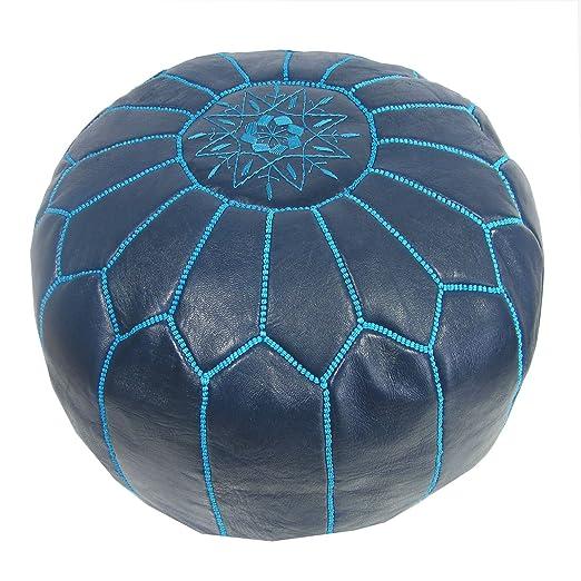ALMADIH Pouffe Azul otomano bordado Cojín de cuero genuino ...