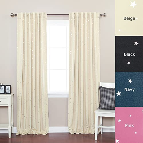 Best Home Fashion Premium Star Print Thermal Insulated Blackout Curtains – Back Tab Rod Pocket – Beige – 52 W x 84 L – Set of 2 Panels