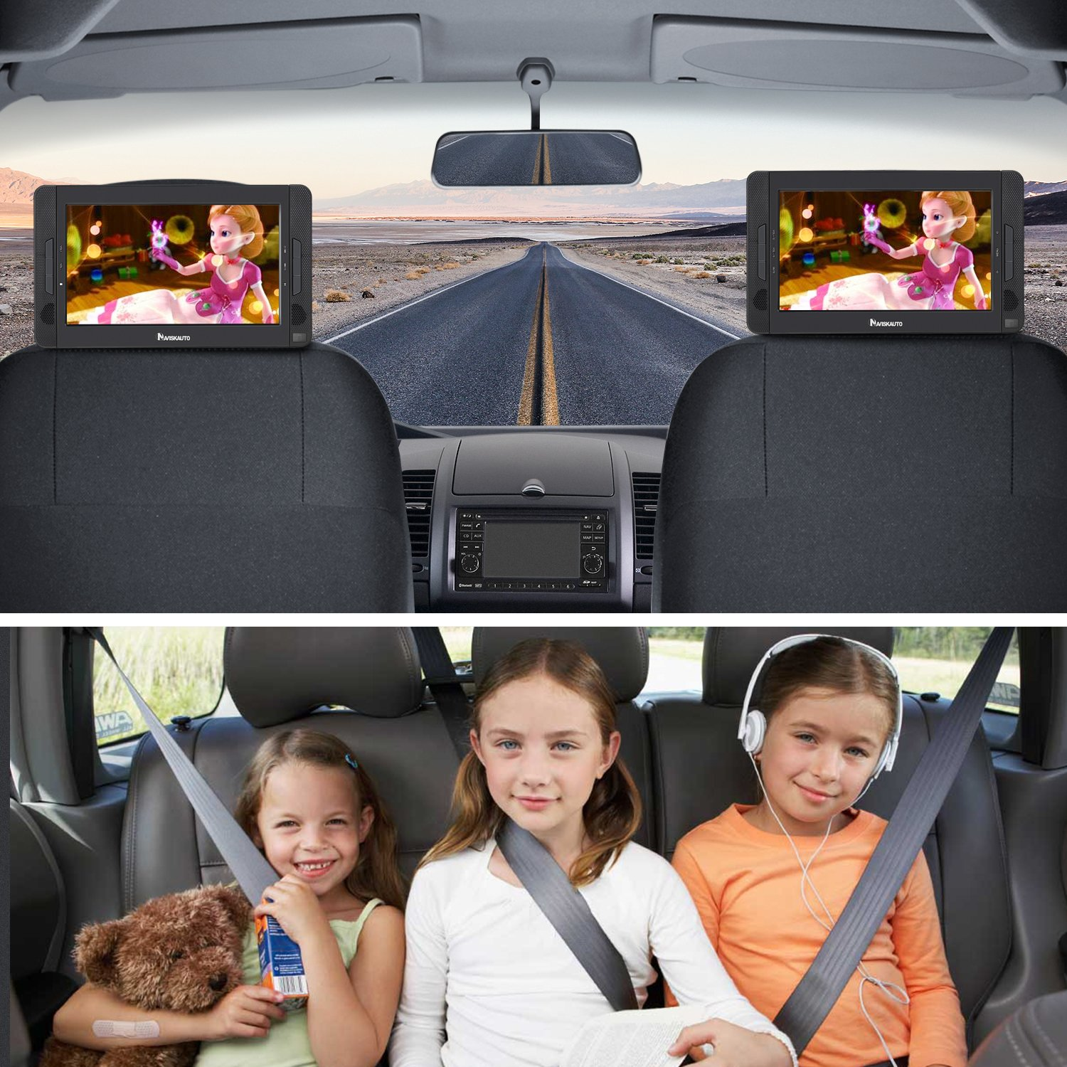 NAVISKAUTO 10.5'' Portable DVD Player for Car Dual Screen, Headrest Video Player with 5-Hour Built-in Rechargeable Battery, Last Memory and Region Free by NAVISKAUTO (Image #2)