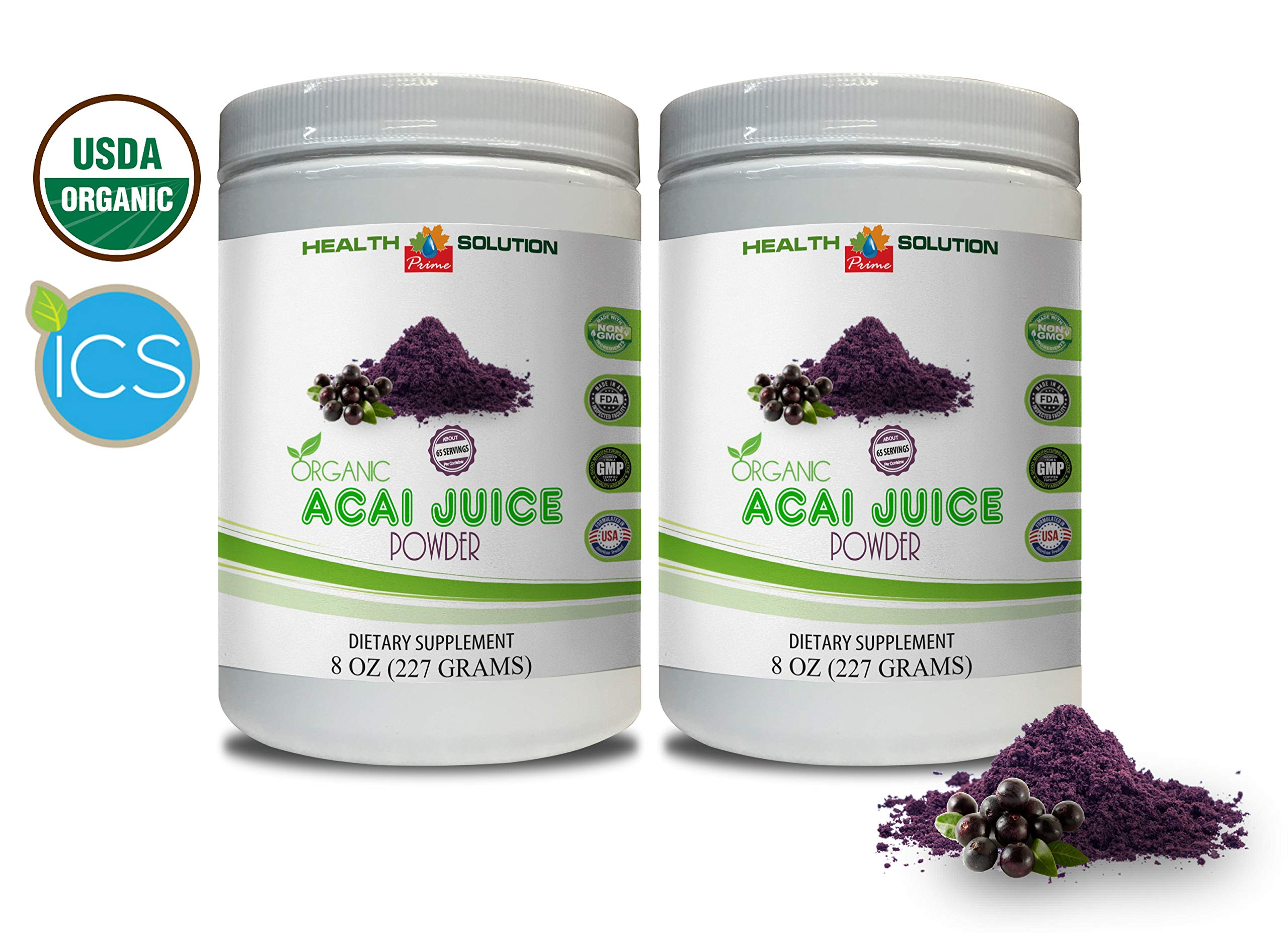 Immunity Booster Powder - Organic ACAI Juice Powder - acai Dietary Supplements Weight Loss - 2 Cans 16 OZ (130 Servings)