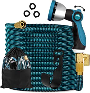 "Knoikos Expandable Garden Hose 50ft - Expanding Flexible Water Hose with 10 Function Nozzle/Durable 3300D /3/4"" Solid Brass Connectors,Easy Storage Kink Free Garden Water Hose"
