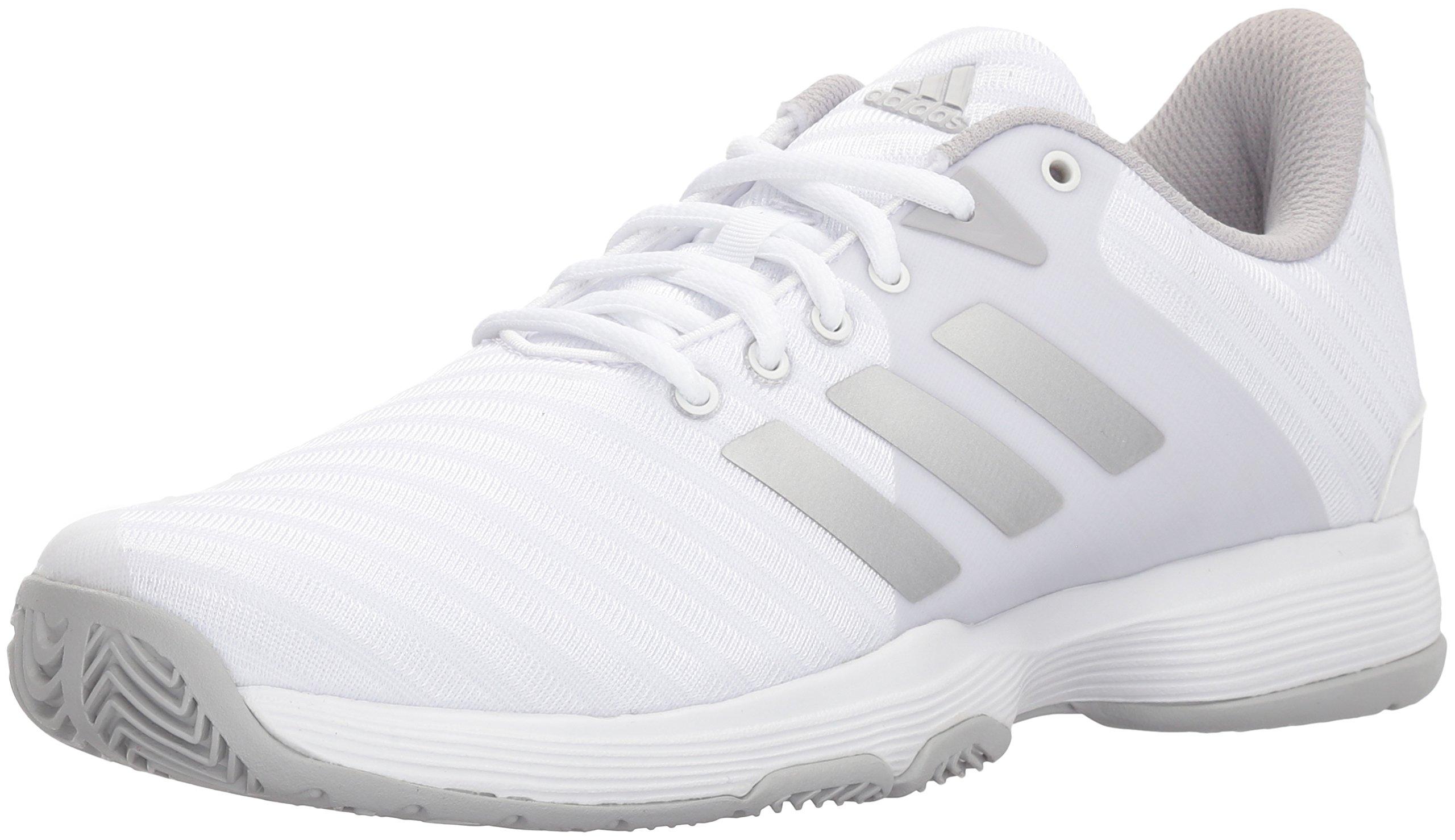 adidas Performance Women's Barricade Court w Tennis Shoe, White/Matte Silver/Grey, 8 M US