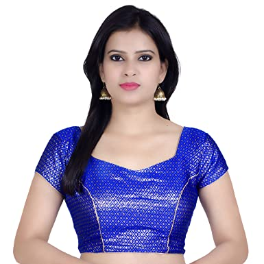 ffedc7947768c9 Chandrakala Women's Designer Bollywood Readymade Blue Saree Blouse Padded  Brocade Choli-X-Small (