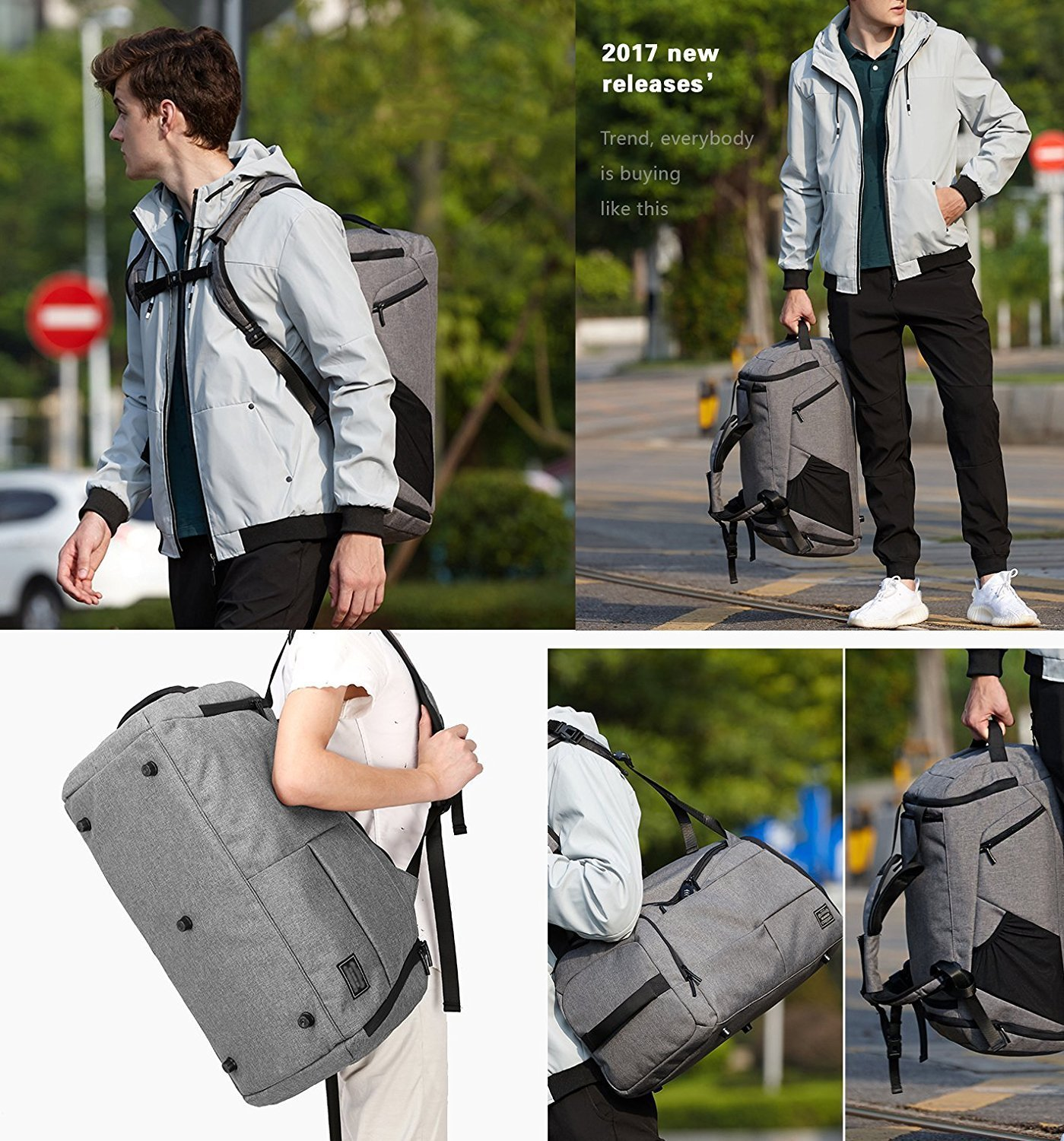 KEYNEW 55L Waterproof Duffel Sports Gym Bag for Men Women with Shoes Compartment by KEYNEW (Image #7)