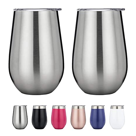 7878182321a Vacuum Insulated Wine Glasses with Lids - Stainless Steel Stemless Wine  Cups - Set of 2 Wine Tumblers with Clear Lids - 12 Oz - Shatterproof - BPA  ...