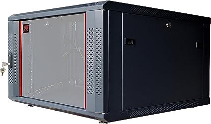 Goplus 6U Wall Mount Network Server Data Cabinet Enclosure Rack Glass Door Lock