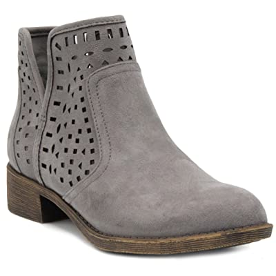 Sugar Women's Calico Ankle Bootie Boot with Perferated Chop Out Design | Ankle & Bootie