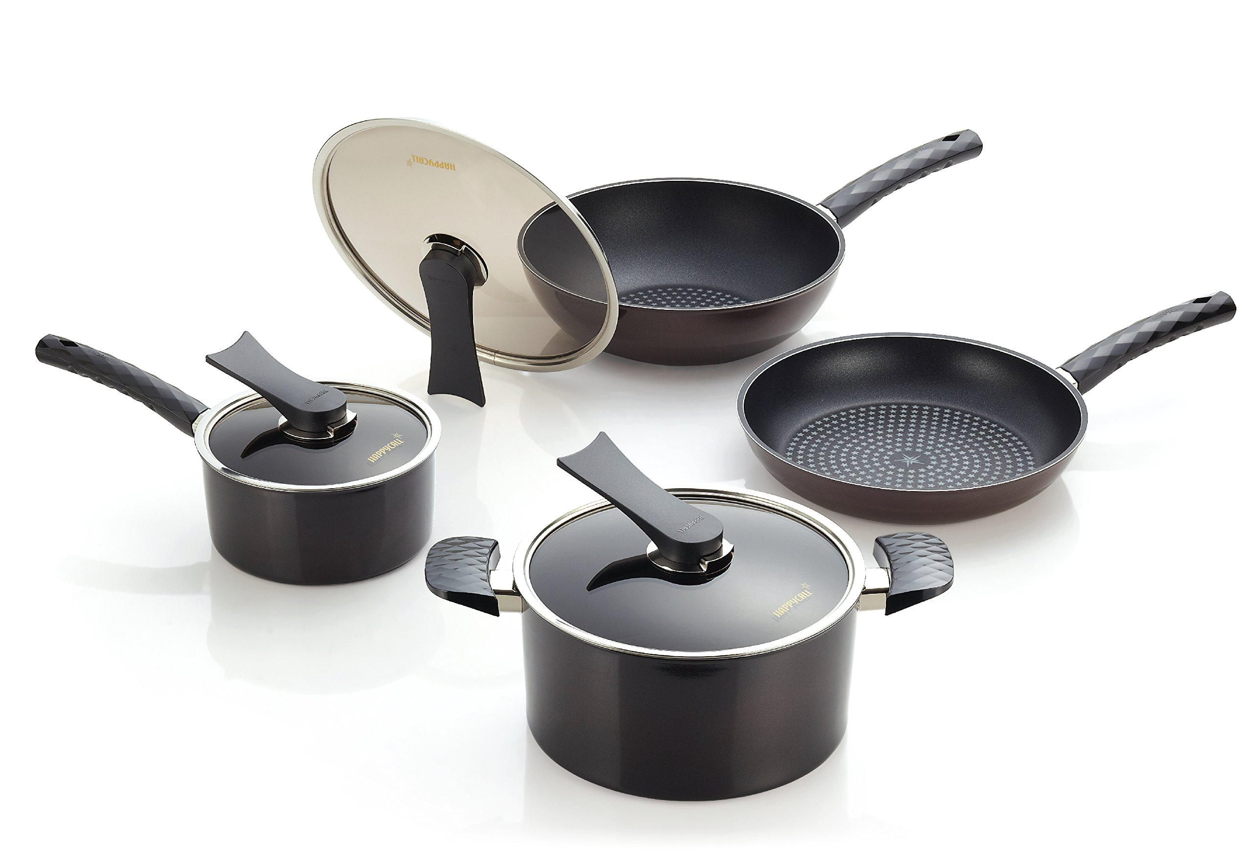 Happycall Everyday Cookware Set, 7 Pieces, Nonstick Pans and Pots, PFOA-Free, Dark Brown
