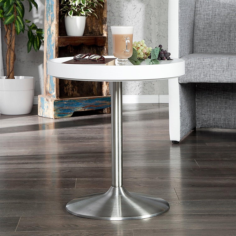 Design BEISTELLTISCH MIT Tablett Wohnzimmer Tisch Weiss rund Kleiner ...