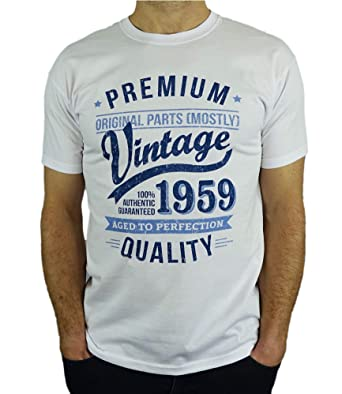c9596d2e 1959 Vintage Year - Aged to Perfection - 60th Birthday Gift / Present Mens T -Shirt: Amazon.co.uk: Clothing