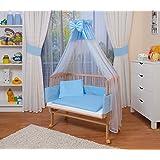 WALDIN Baby Beistellbett komplett mit Ausstattung, höhen-verstellbar, Buche Massiv-Holz natur unbehandelt,16 Modelle wählbar