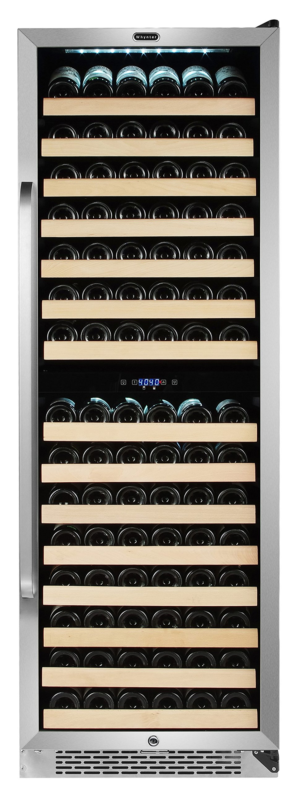 Whynter Stainless Steel BWR-1642DZ 164 Bottle Built-in Dual Zone Compressor Wine Refrigerator with Display Rack, One Size by Whynter