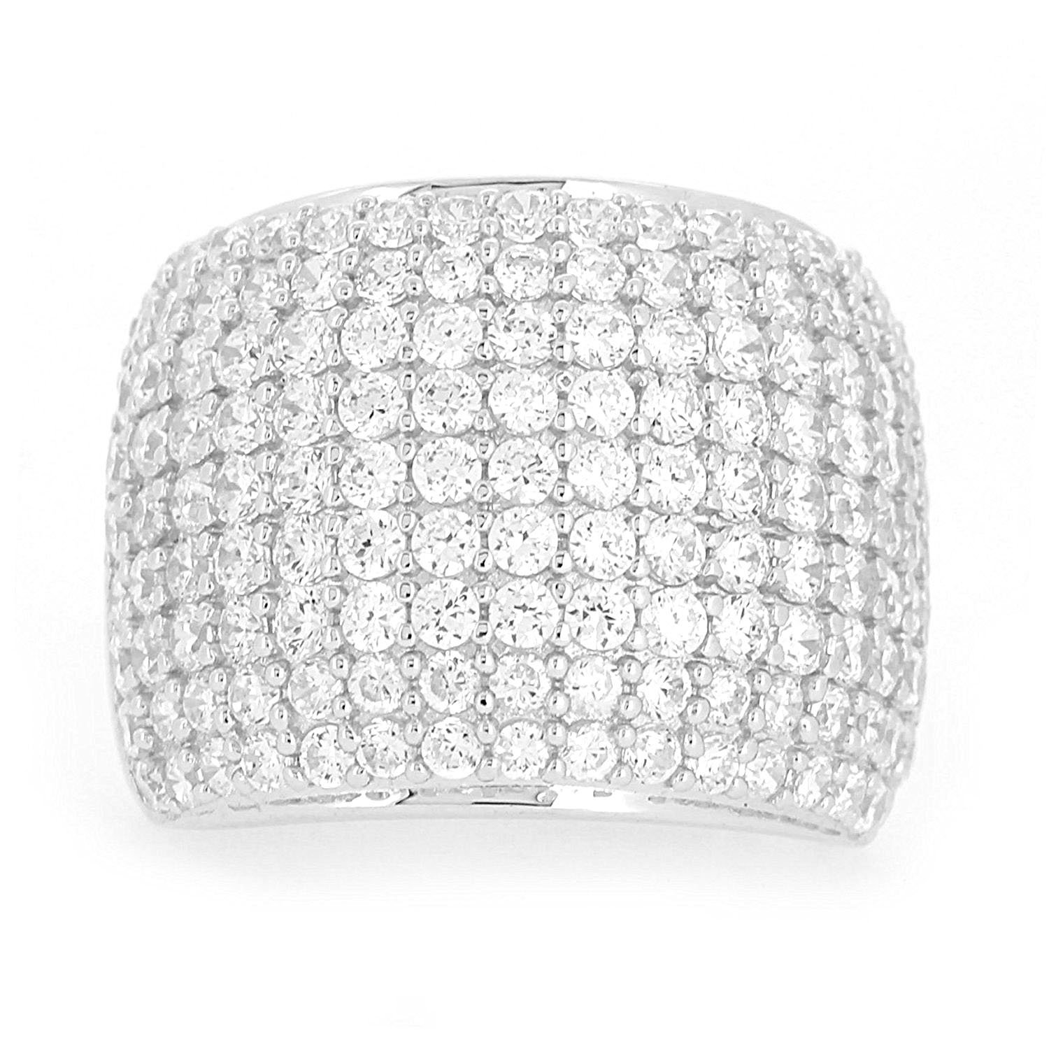 Sterling Silver Paved CZ Dome Ring