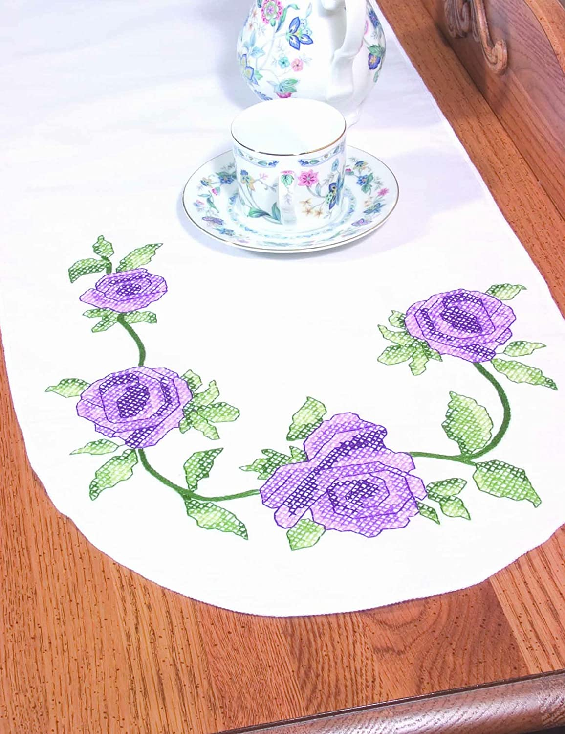 Fairway 18245 Dresser Scarf, Cross Stitch Rose Vine Design, White, Perle Edge