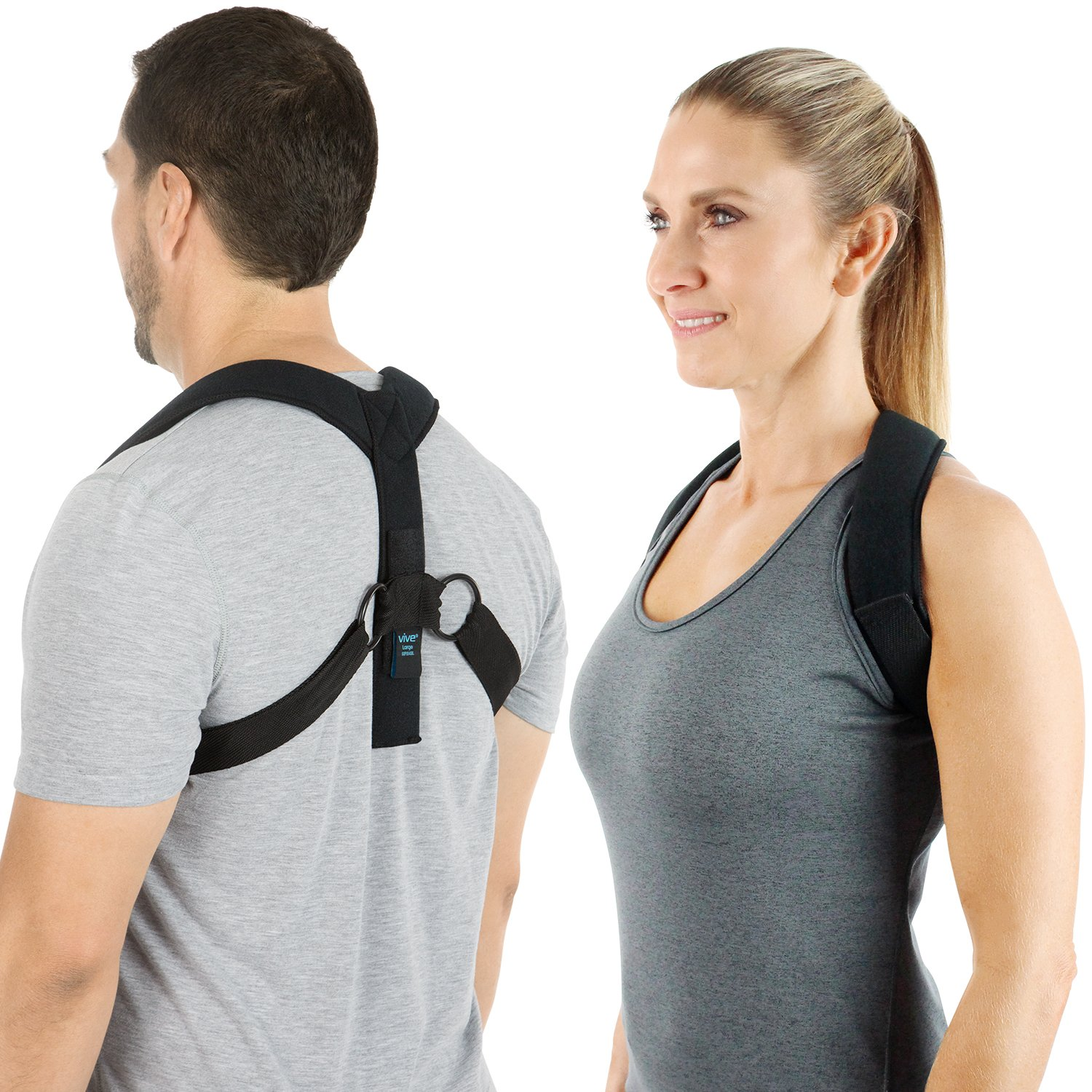 Posture Corrector Brace by Vive - Men and Women Corrective Shoulder Device - Support for Rounded Shoulder - Upper Back Straightener Improves Poor, Bad, Stooped, Forward Head and Neck Alignment (Large)