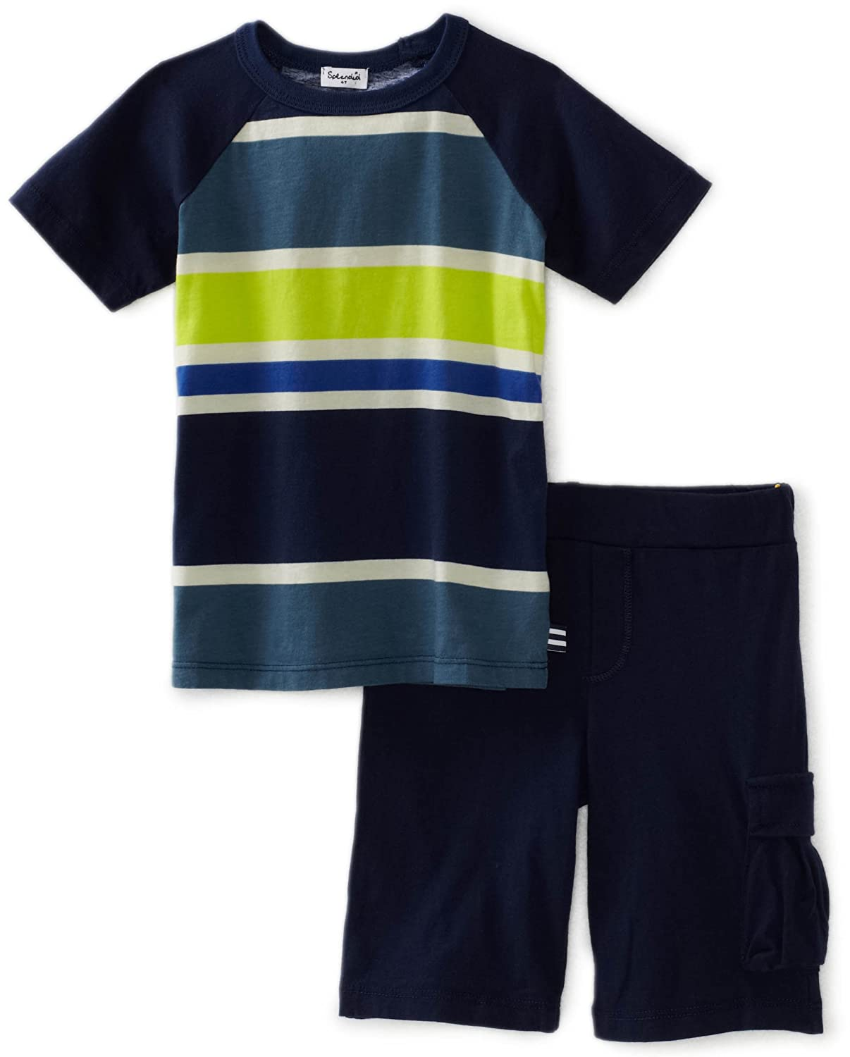 Little Ella Splendid Littles Little Boys Block Stripe Crew Neck Shirt And Short Splendid Littles