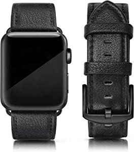 SWEES Leather Band Compatible for iWatch 42mm 44mm, Genuine Leather Replacement Wristband Strap Compatible iWatch Series 6, Series 5, Series 4, Series 3, Series 2, Series 1, SE Sports & Edition Men, Lichee Black