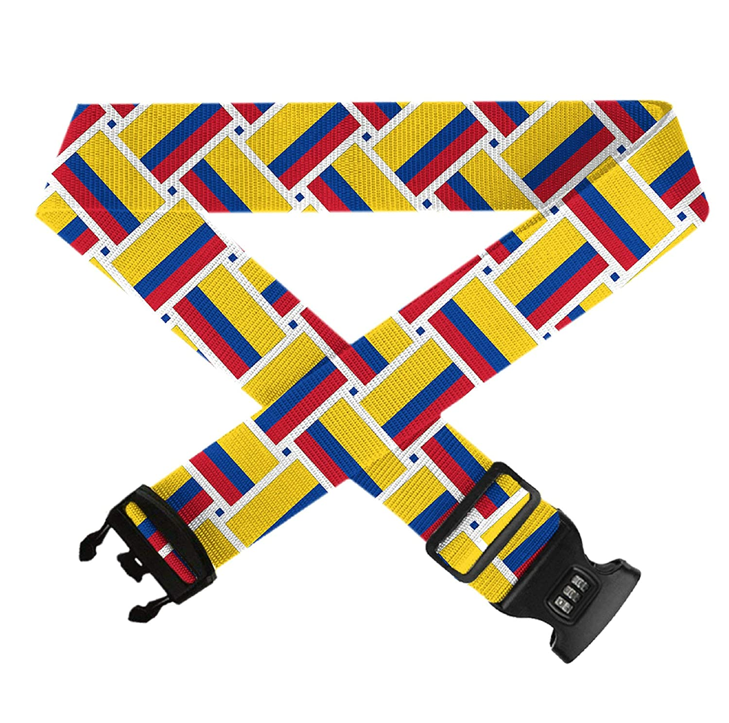Luggage Straps Adjustable Suitcase Belts with 3 Dial Digit Combination Travel Bag Accessories Colombia Flag Weave