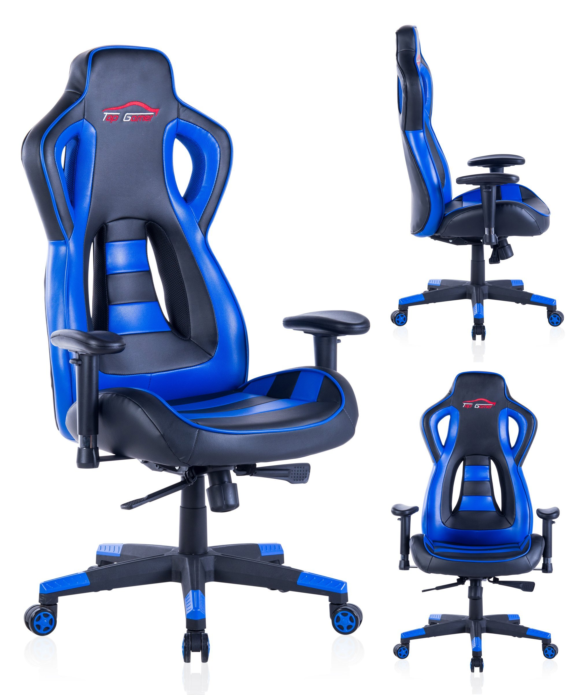 Top Gamer Gaming Chair PC Computer Game Chairs for Video Game (Blue-02)