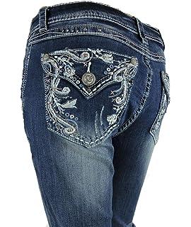 e2c3aa1689fb5 Grace L.A. Idol Women Bootcut Jeans Flap Vitange Tribal Cowgirl Bold Whip Stitching  Stretch