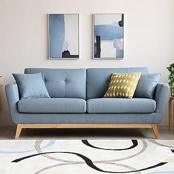 Concept-Usine Höga Bleu Pastel : Canapé scandinave 3 places bleu ...