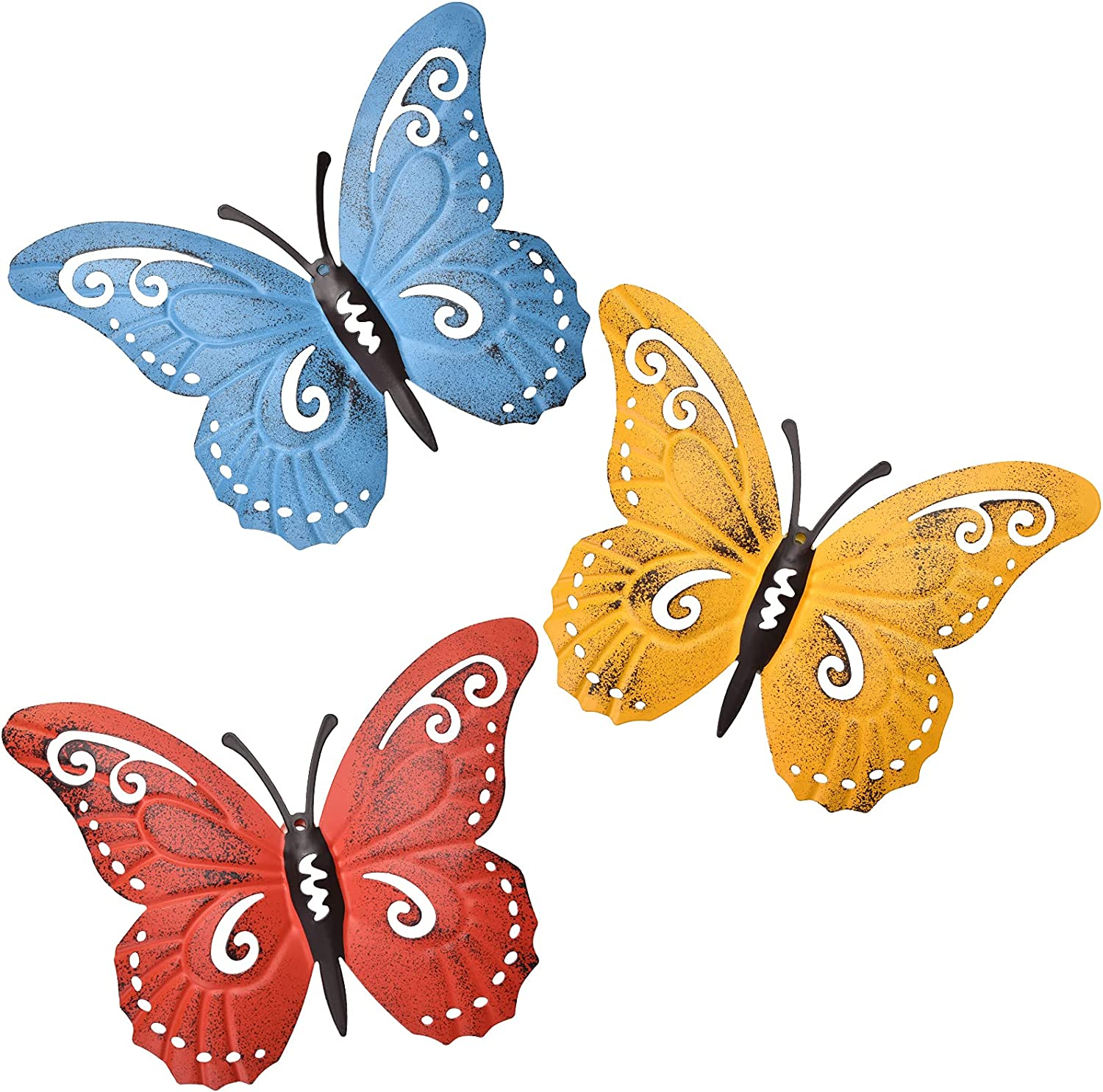 EASICUTI Metal Butterfly Wall Decor Butterfly Wall Art Hanging Sculpture for Indoor Outdoor Home Bathroom Living Room Bedroom Or Porch Patio Fence Yellow Red Blue 3 Pack 9.4