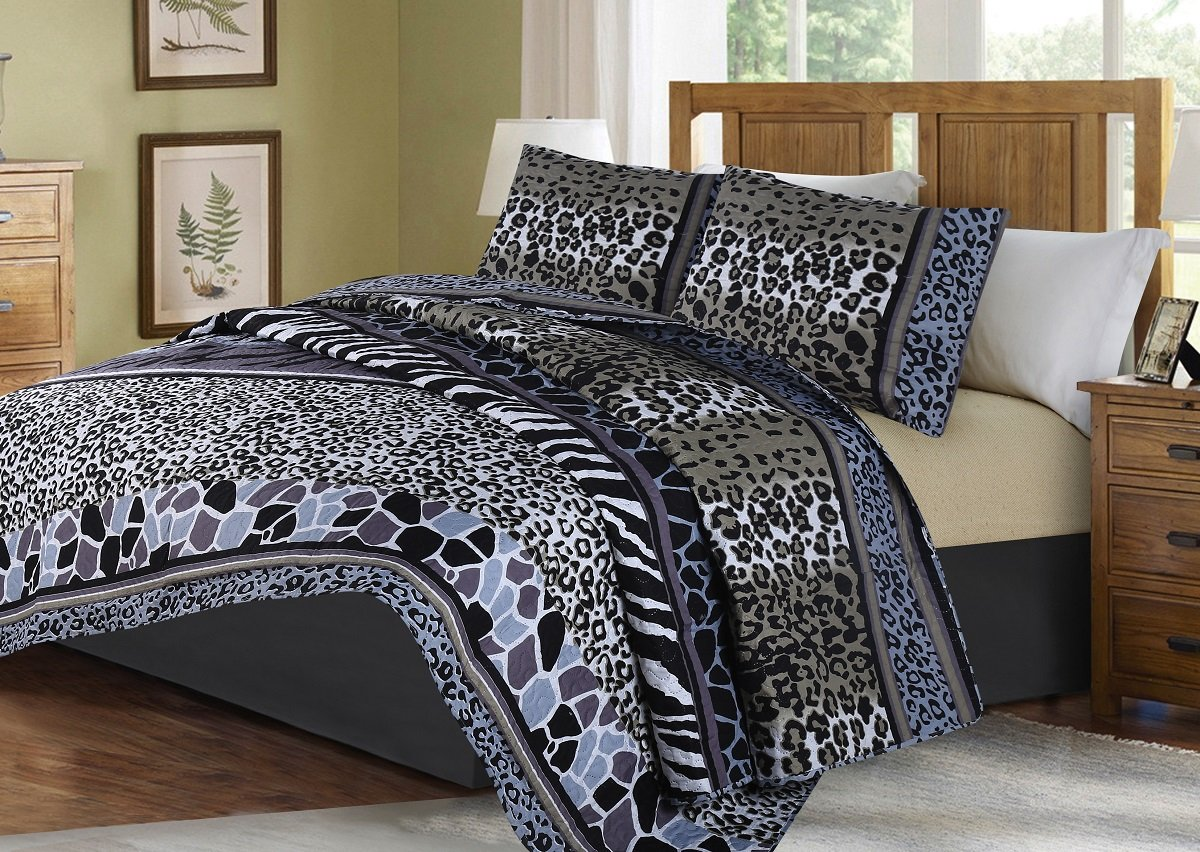 GorgeousHome African Wild Jungle Animals Bedroom Printed Quilt Bedspread Pinsonic Bed Dressing Bedding Cover 2/3pc Set in 3 Sizes Assorted (ANIMAL #6 STRIPE MOSAIC, TWIN)
