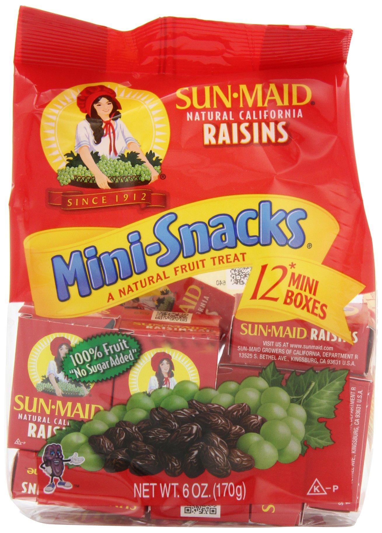 Sun Maid California Raisins Mini Snacks Bags, 6 Ounce (Pack of 18)