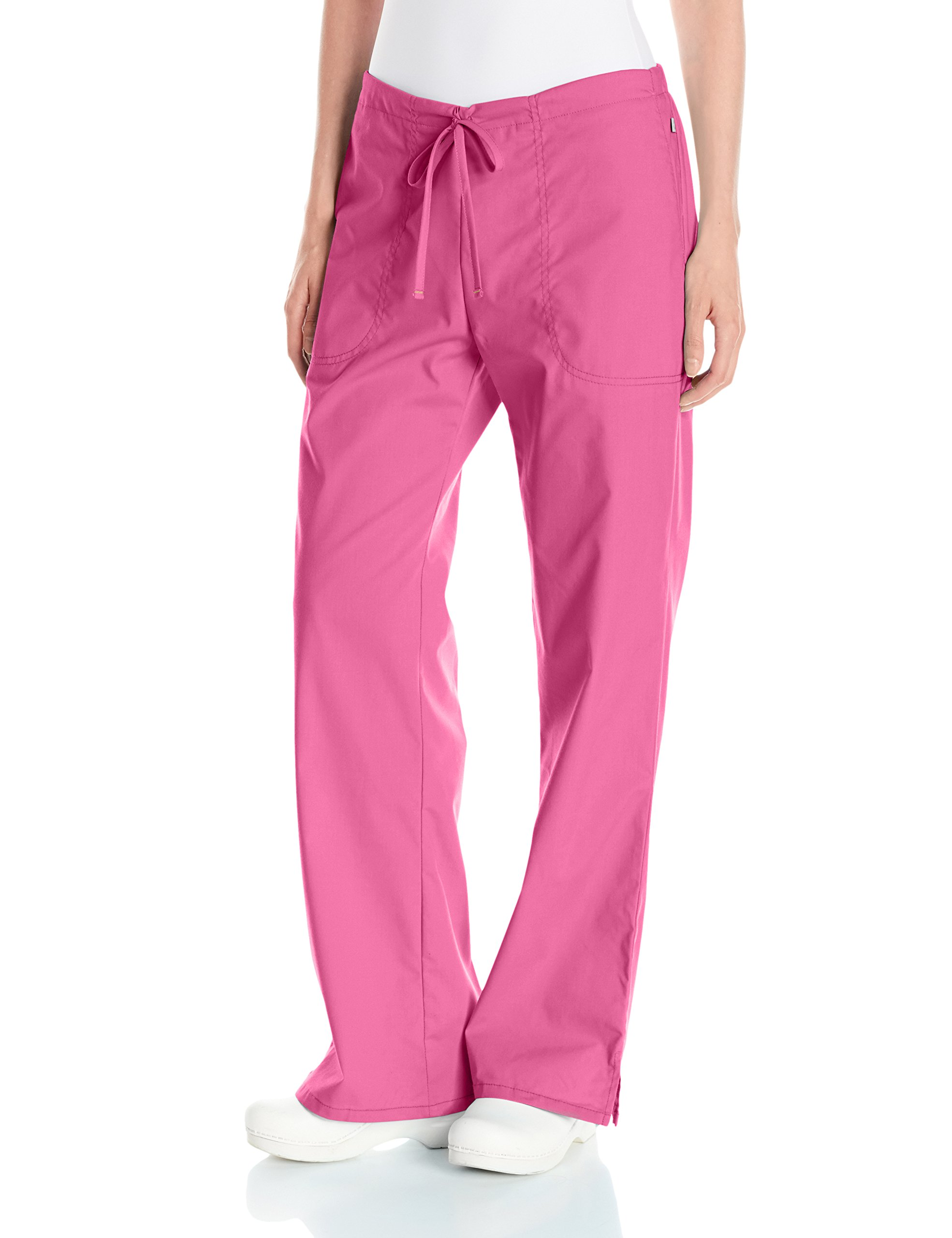 Code Happy Women's Bliss Mid-Rise Moderate Flare Drawstring Pant with Certainty, Shocking Pink, Small Petite