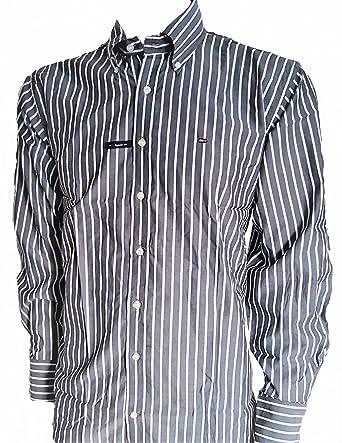 8d2e589ef42f Tommy Hilfiger Hemd Grau Weiß gestreift (Regular Fit)  Amazon.de ...