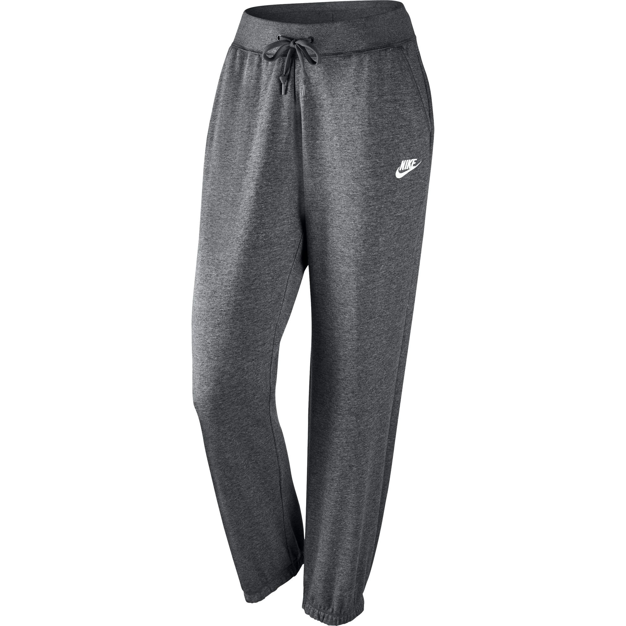 NIKE Women's Sportswear Loose Fleece Pants, Charcoal Heather/Dark Grey/White, X-Small