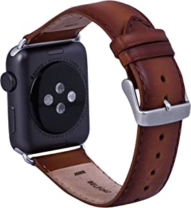 BELFORD Leather Band Compatible 38 mm Watch Band for Apple iWatch Vegetable Tanned Hand Coloured Leather Strap Replacement Hypoallergenic Band with Stainless Metal Clasp for Apple Series 4 3 2 1 Sport