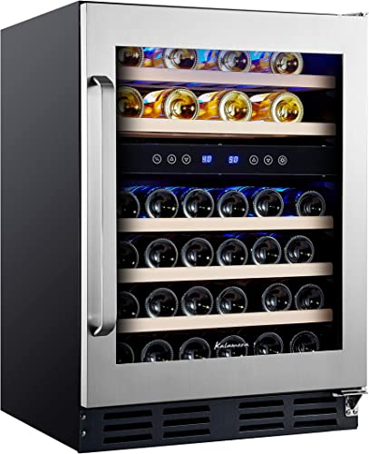 Kalamera-24-Inch-Seamless-Stainless-Steel-Tempered-Glass-Door-Wine-Fridge-46-Bottle-Dual-Zone-With-Quiet-&-Energy-Efficient-Compressor