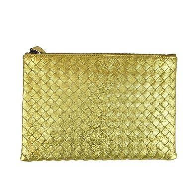 ffb07e8166791 Bottega Veneta Intrecciato Woven Gold Leather Clutch Pouch Bag 302293 8417