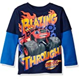 Nickelodeon Boys' Toddler Boys' Blazing Through L/s 2-Fer T-Shirt Withthermal Sleeves