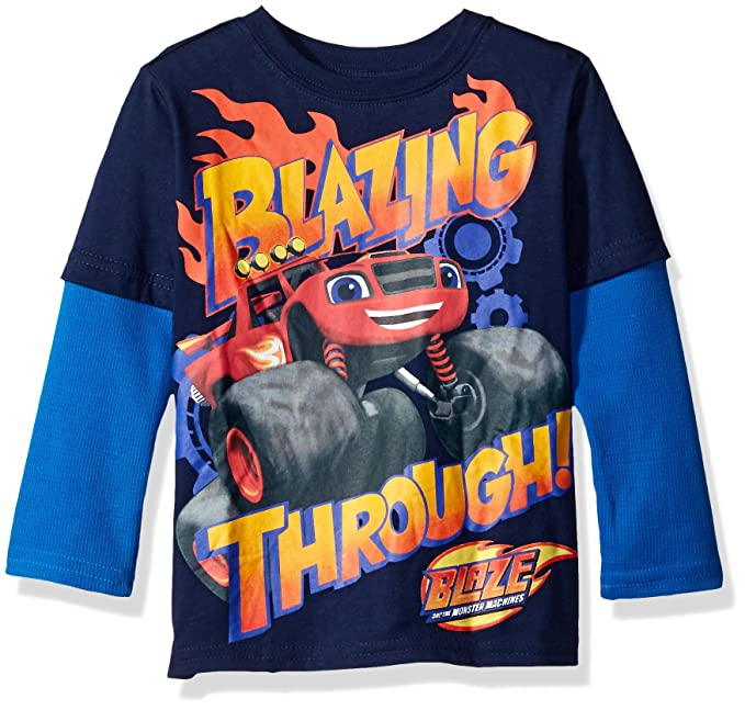 Nickelodeon Boys Toddler Boys Blazing Through L/s 2-Fer T-Shirt Withthermal Sleeves