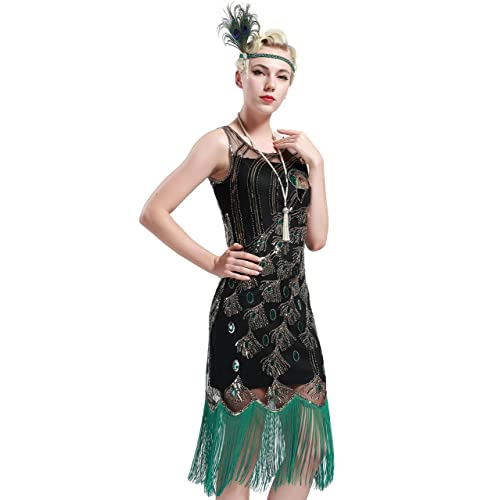 BABEYOND Womens 1920s Fringed Gatsby Dress Peacock Pattern Theme Flapper Dress for Gatsby Costume Party Prom