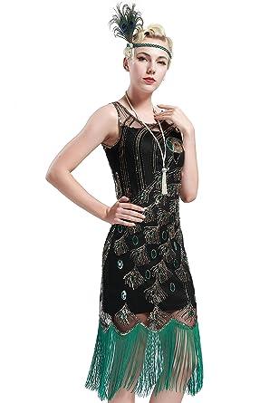 Babeyond Vestito Abito Anni 20 Donna Vestito Gatsby Donne 1920s Abiti  Flapper Dress Vestito da Sera Frange Gatsby Veatito con Paillette  Impreziosito Senza ... 01a03bf0d04